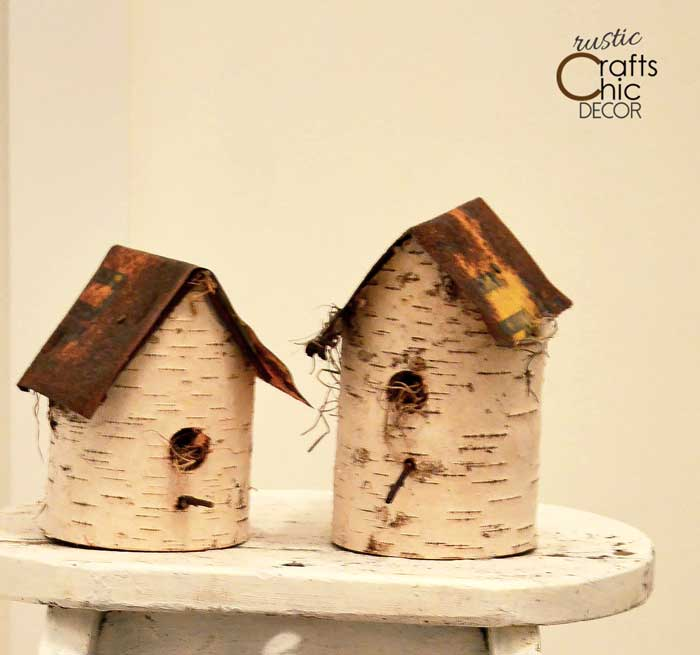 diy birdhouse - using birch and old signs