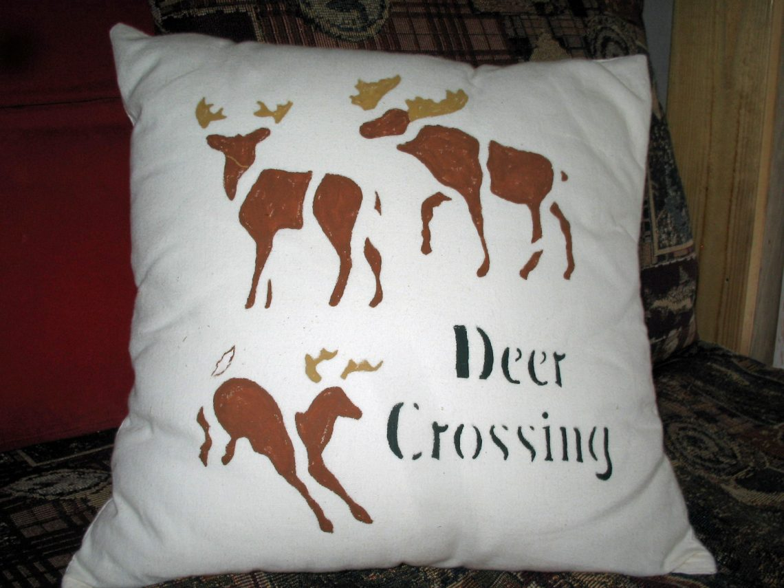 Fabric Painting Curtains Deer Pillow