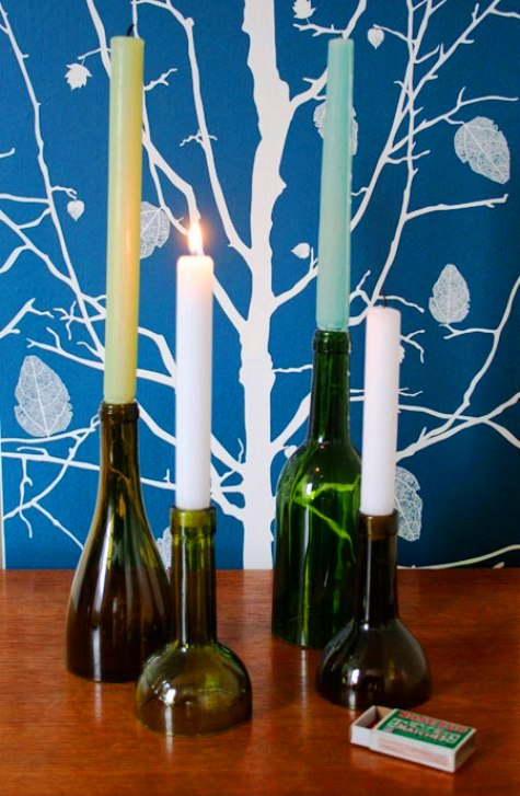 A roundup of great wine bottle crafts rustic crafts for Wine bottle candle holder craft