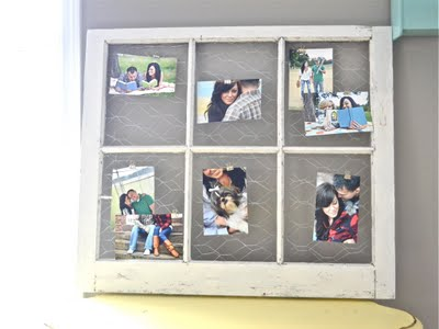 for displaying photos this chicken wire backed window frame is a great idea by liz marie blog the chicken wire gives a nice rustic base to clip photos