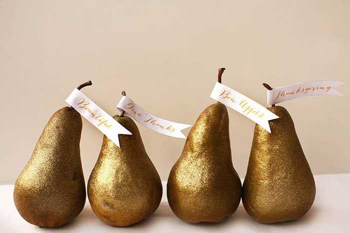 diy gilded pear place card holders