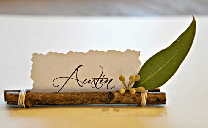 diy place card holders with twigs and twine