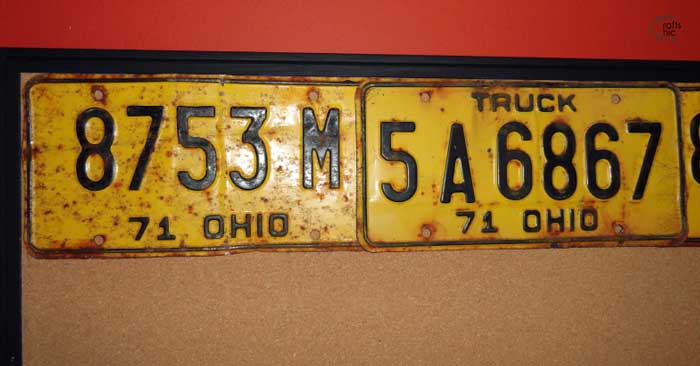 bulletin board makeover with license plates
