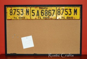 recycled license plate cork board
