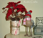 birch bark can Christmas centerpiece