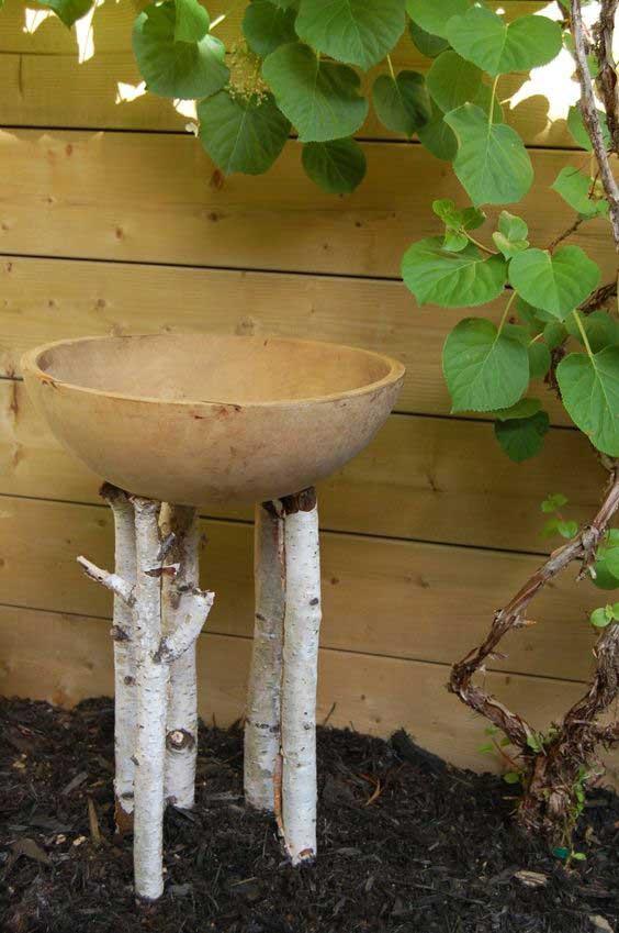 rustic birch crafts - log bird bath