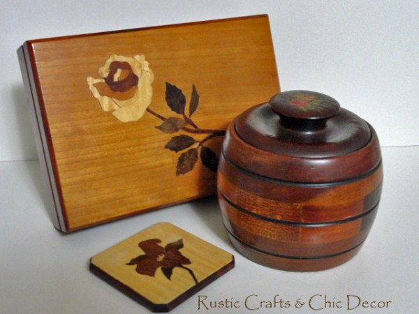 vintage jewelry box with wooden floral box and mirror