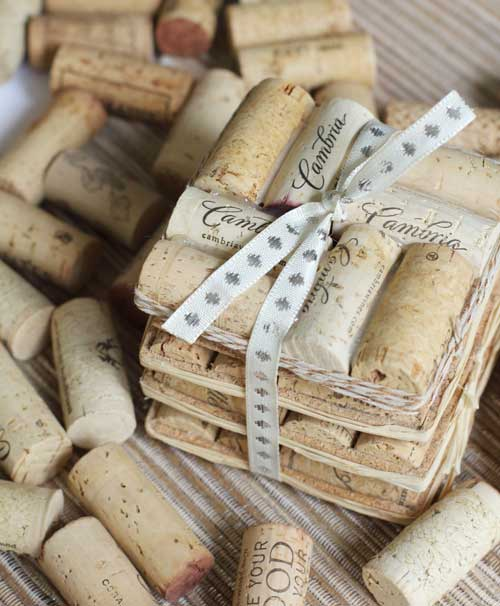 diy coaster made from wine corks