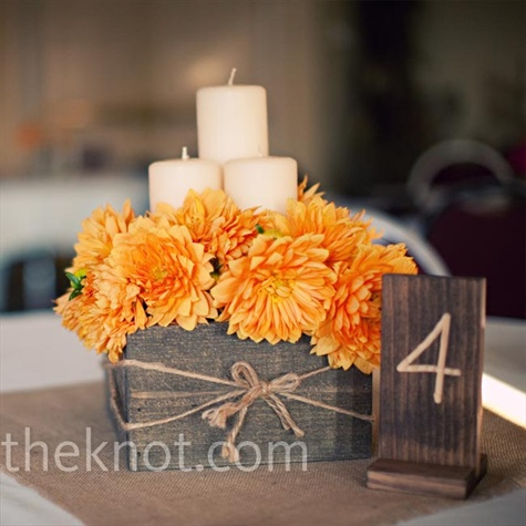 I like the wooden box that was made for the base of this centerpiece