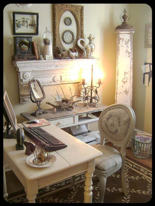 decorate a home office shabby chic style rustic crafts. Black Bedroom Furniture Sets. Home Design Ideas