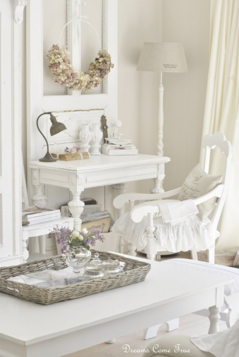 White shabby chic decorating kids art decorating ideas for Shabby chic cottage decor