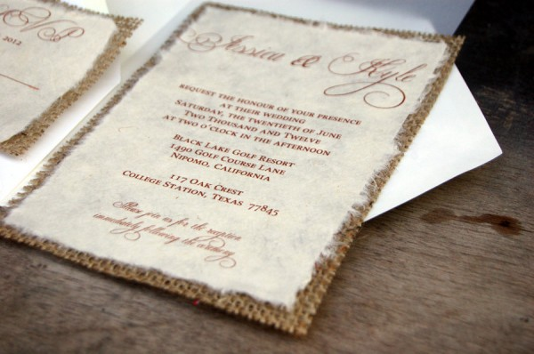 Burlap Wedding Invitations Diy: Rustic Crafts & Chic Decor