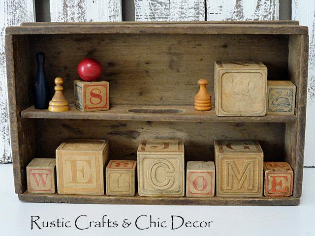 Vintage craft using old wooden blocks rustic crafts for Large wooden blocks for crafts