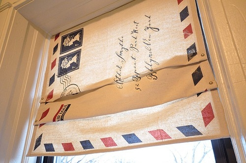 homemade curtain using iron on transfers