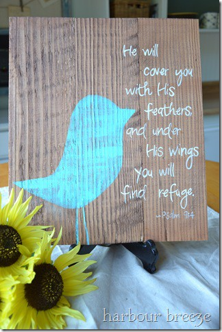 verse painted on plank board