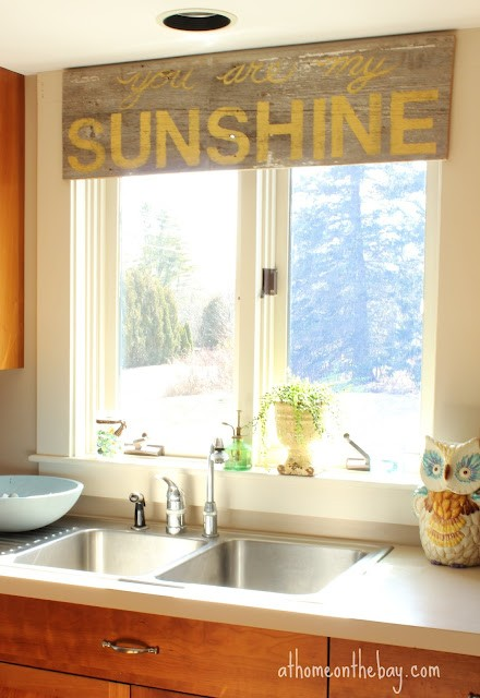 stenciled barn wood window valance