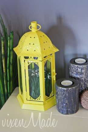 Spring lantern with yellow paint.