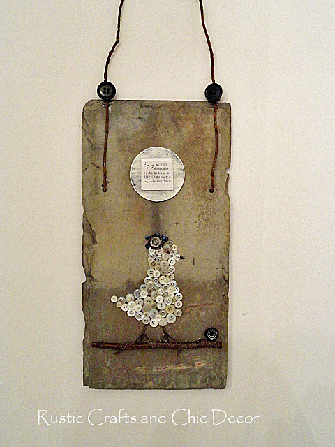 Rustic Button Craft On A Slate Roofing Tile Rustic
