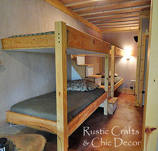 Double cabin bunk bed design rustic crafts chic decor for Diy rustic bunk beds