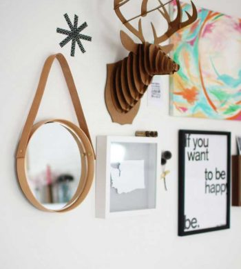 diy round mirror with leather hanging strap