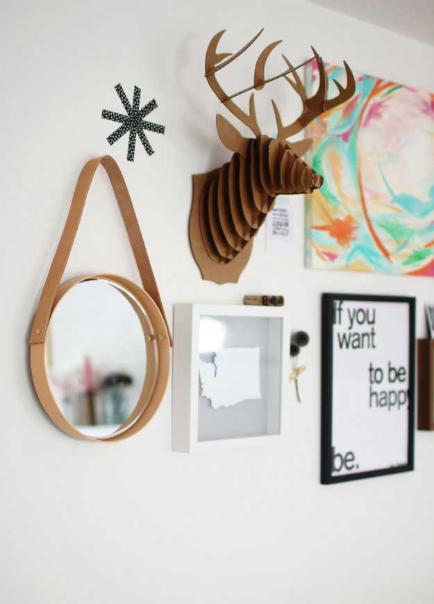 round DIY mirror with leather hanging strap