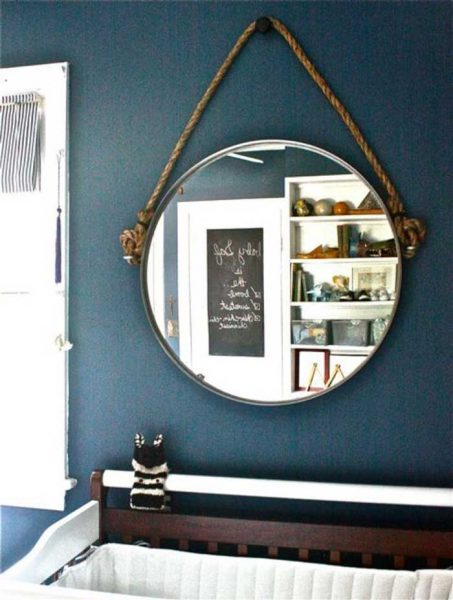 round mirror with diy rope hanger