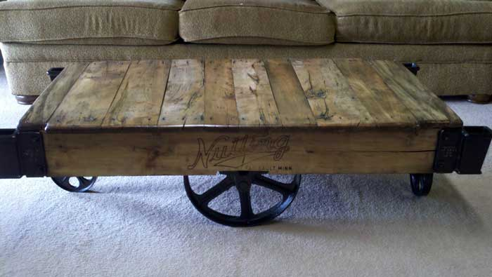 unique coffee tables - factory cart table