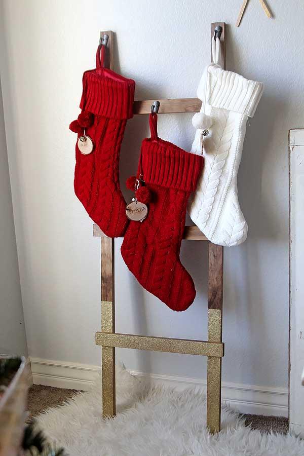 diy rustic stocking holder