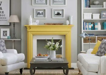 gray living room with pops of yellow