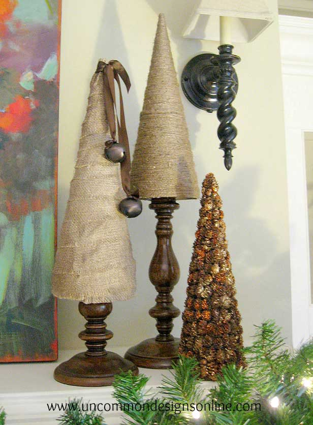 Christmas DIY burlap and twine tabletop Christmas trees