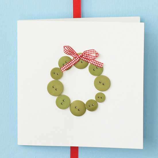DIY button wreath Christmas card