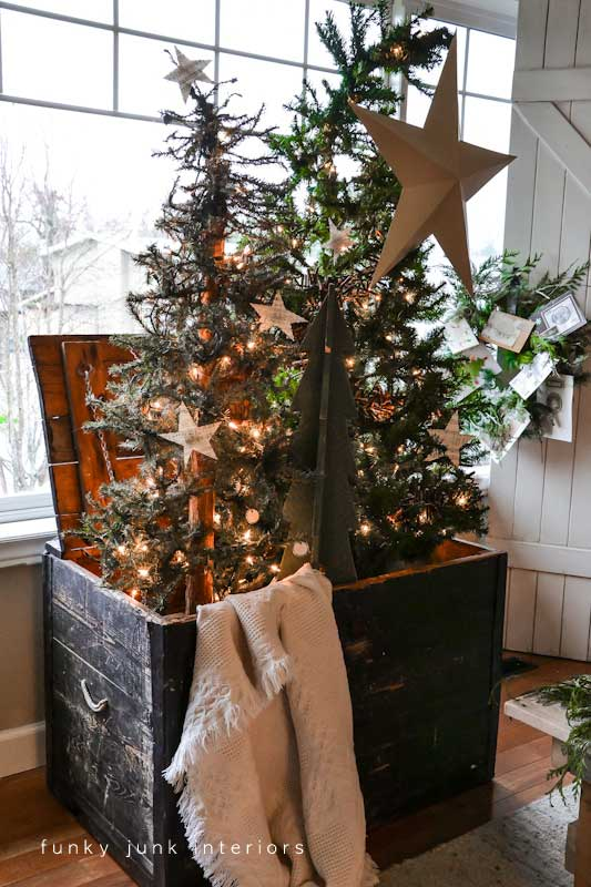 Christmas decor in a large trunk