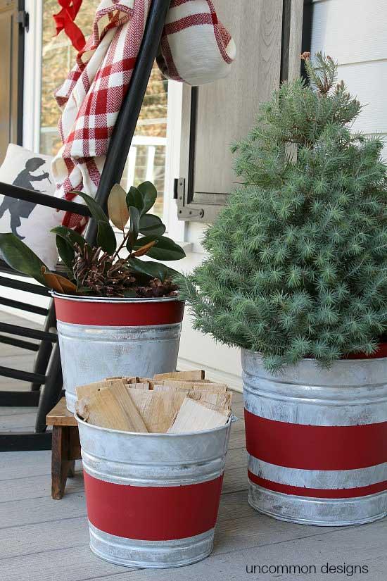 Christmas decor in galvanized buckets