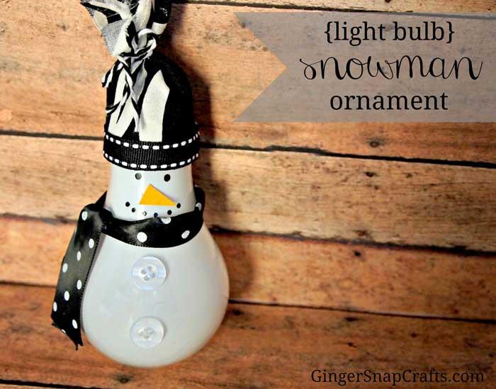 diy light bulb snowman Christmas ornament