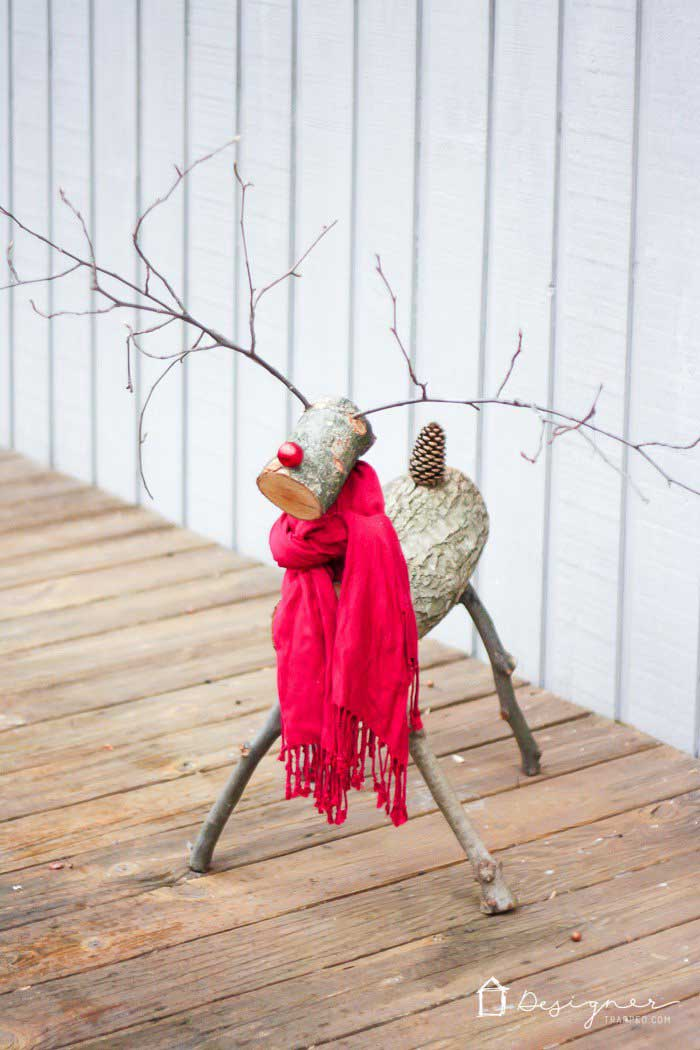diy rustic reindeer from logs