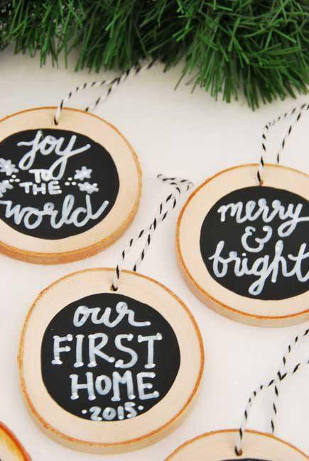 diy wood slice chalkboard christmas ornaments