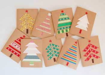 DIY Christmas cards - made with kraft paper and ribbon