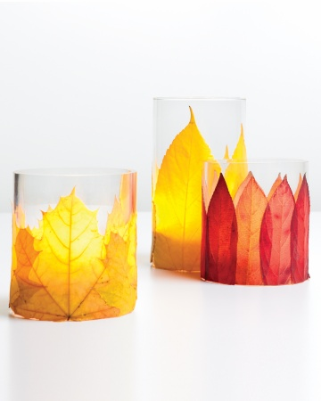 colorful leaf candle holders