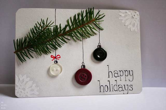 DIY hanging button ornaments Christmas card