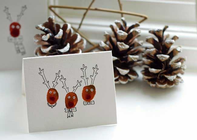 thumbprint reindeer DIY Christmas cards