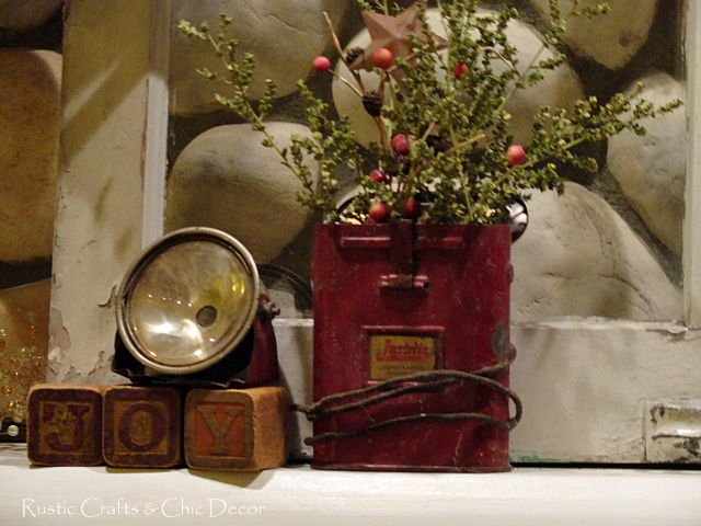 vintage miners light christmas arrangement - Rustic Christmas Decorations