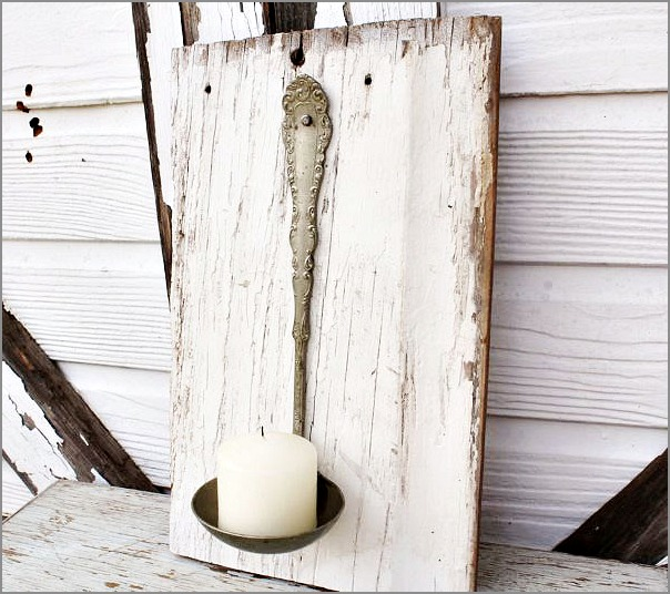 silverware crafts - candle holder made from a vintage ladle
