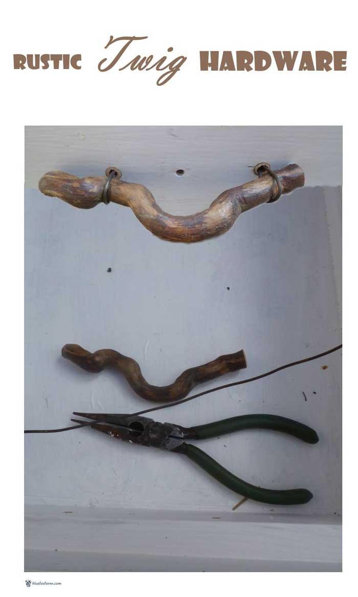 DIY twig cabinet pulls