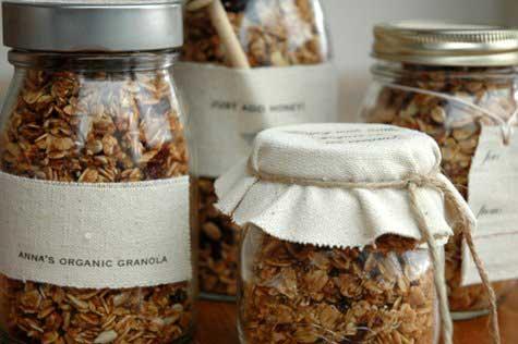 mason jar filled with granola gift idea