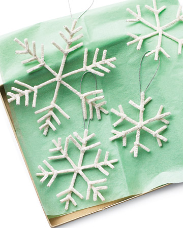 snowflakes made from pipe cleaners