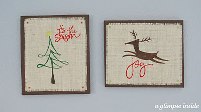 stenciled burlap Christmas wall art