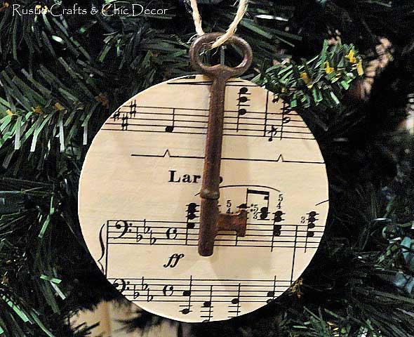 songsheet and key christmas ornament