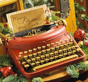 vintage typewriter decorated for Christmas