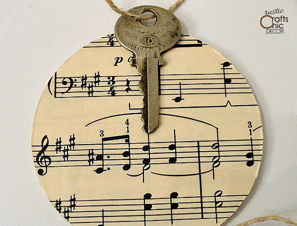 vintage key christmas ornament