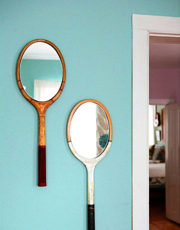 unusual crafts - tennis racket mirror
